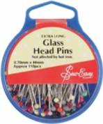 Sew Easy Glass Head Pins - 44mm x 0.7mm